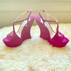 PRADA Curved Heel Open Wedges Sandals